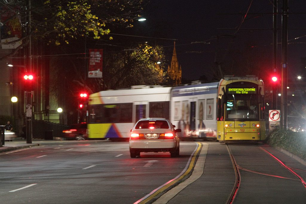 Flexity 102 turns from king william street into north for 223 north terrace adelaide
