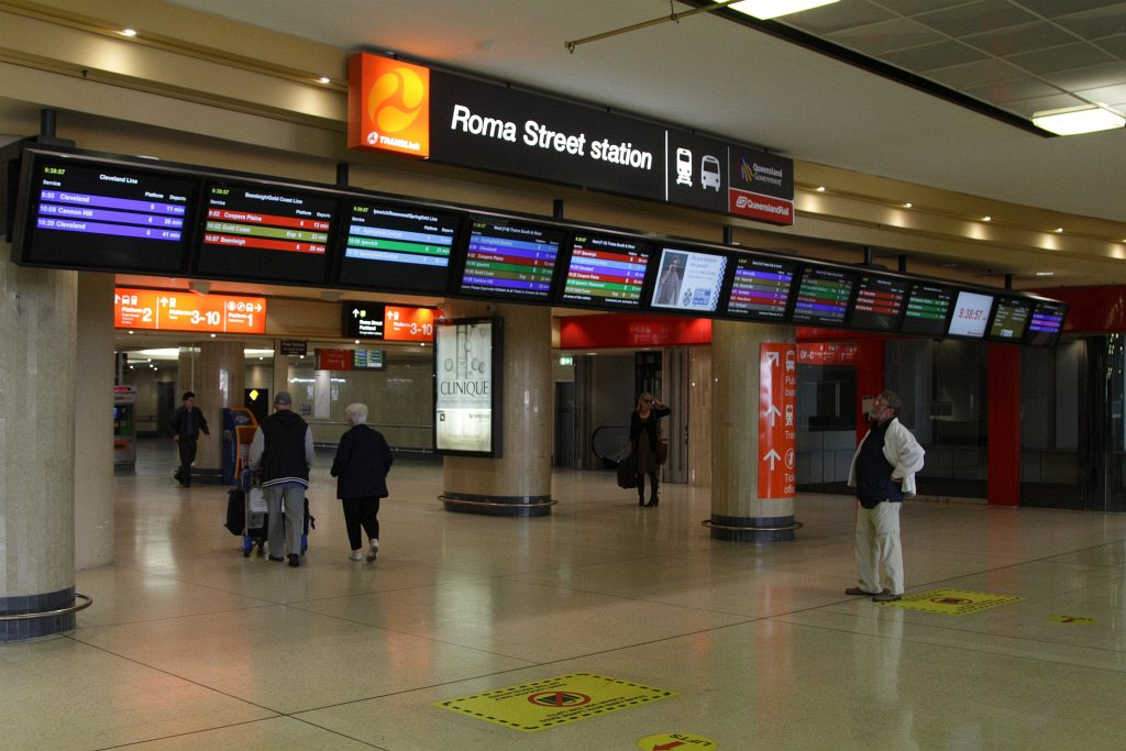 pids outside the main entrance at roma street station. Black Bedroom Furniture Sets. Home Design Ideas