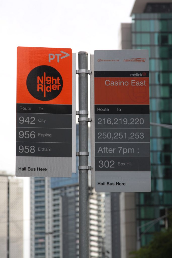 NightRider bus stop sign rebranded with PTV logos Wongms Rail Gallery