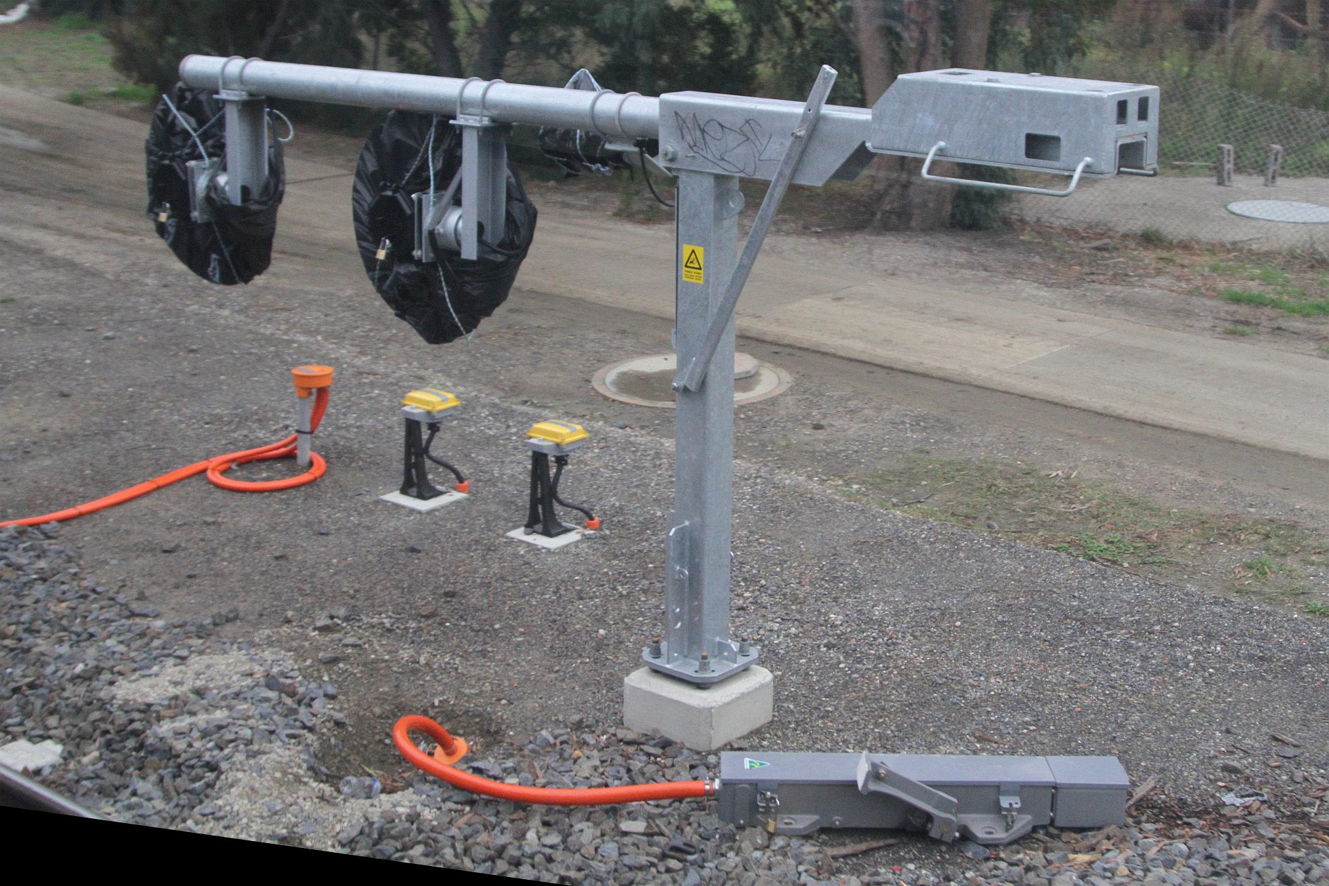 New tilt mast signal and trainstop awaiting commissioning at
