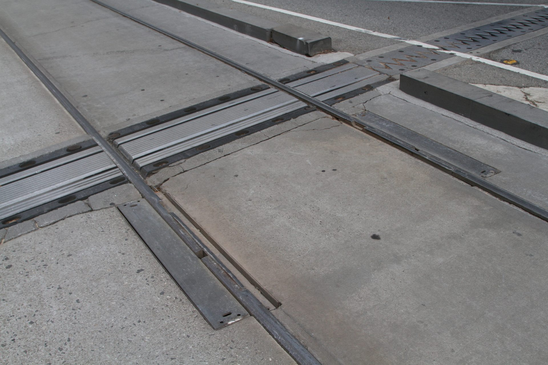 Expansion joints in the trams tracks across the Collins Street