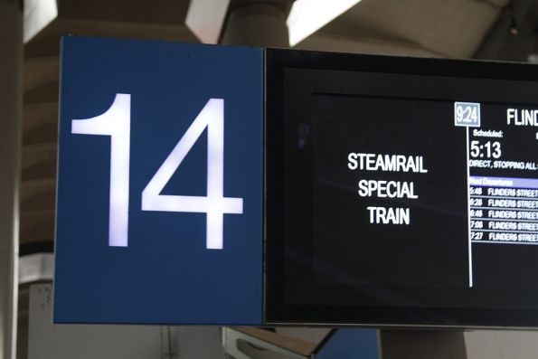 'Steamrail Special Train' incorrectly displayed on the boards at Southern Cross