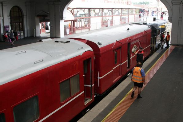 The spiffy looking red end of the train at Ballarat