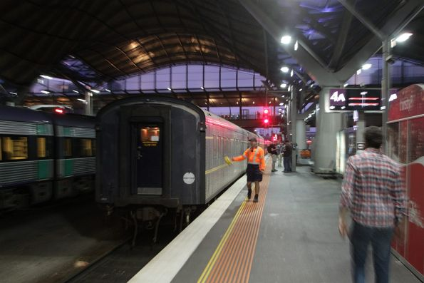 Shunting the train back into the platform at Southern Cross, for the return leg to Newport