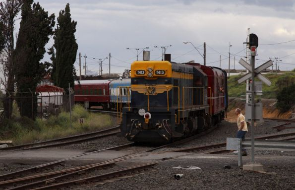 T413 trails the train at North Geelong C