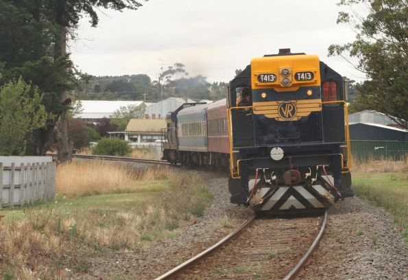 T413 trails at the train heads for Birregurra
