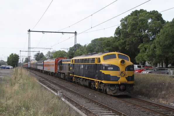 B74 leads the train out of Spotswood, bound for Southern Cross