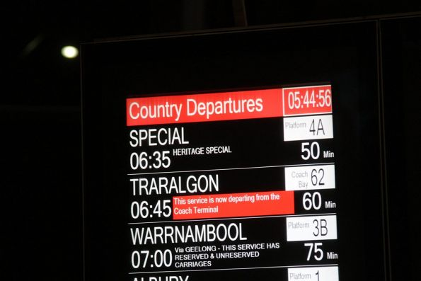 707 Operations tour displayed on the departure board at Southern Cross Station