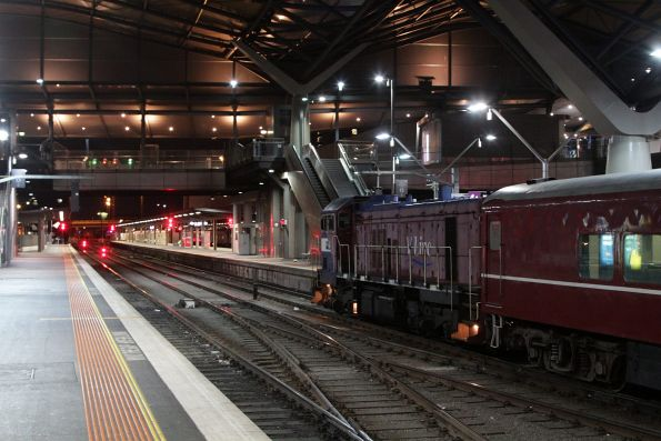 P16 now attached onto the west end of the train at Southern Cross
