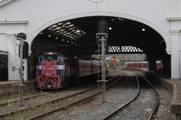P16 leads the train at Ballarat station