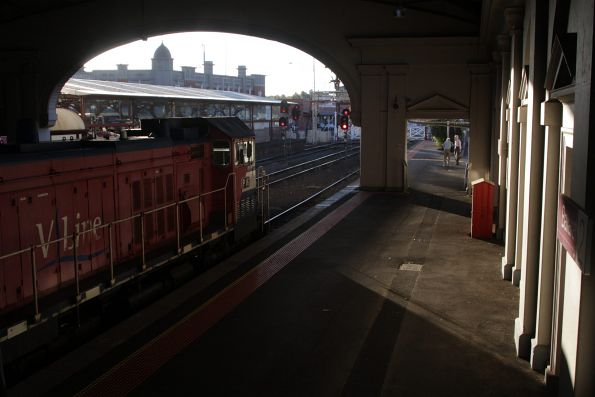 P16 at the tail end of the train at Ballarat