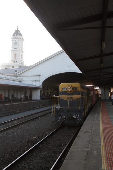T413 leads the train at Ballarat