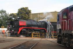 N461 looks on as R707 gets turned at Geelong Loco