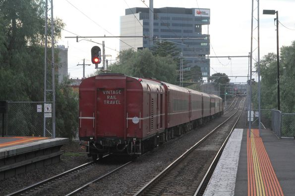 Tail end of the train, passing through Seddon station headed for Southern Cross