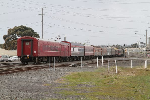 Tail end of the train crosses the Thompson Road level crossing at North Geelong C