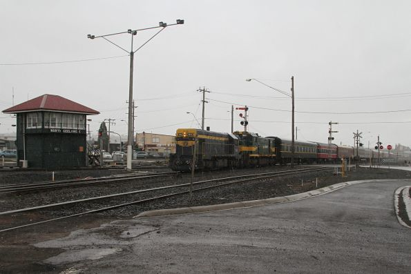 T413 leads H5 past the signal box at North Geelong C