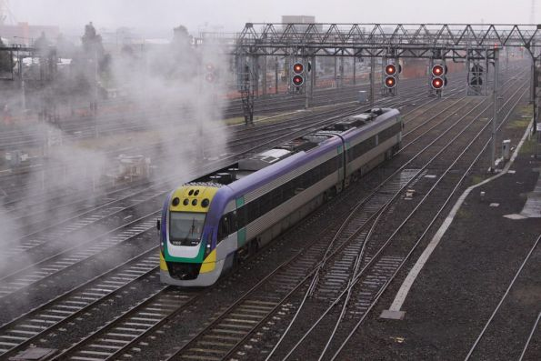 Driver of VL02 waits for the steam to clear before proceeding into Southern Cross