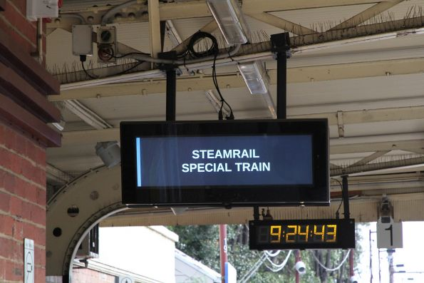 'Steamrail Special Train' on the screen at Newport platform 1