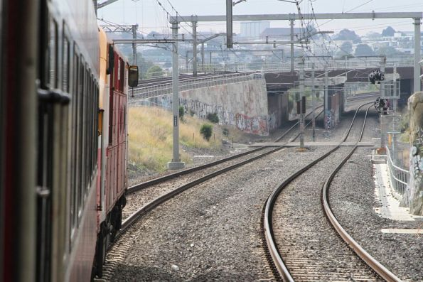 A66 leads the train under the RRL track at Footscray