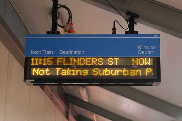 Our train advertised as the '11:15 Flinders Street' at Berwick station