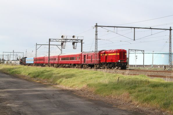 F208 trails the train at Altona Junction