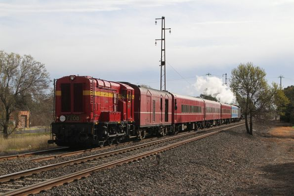 F208 trailing the train on the goods lines at Spotswood