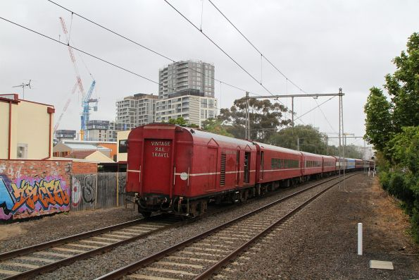 Power van trails the train at Moonee Ponds