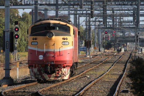 A66 departs Sunshine on a light engine move to Bendigo