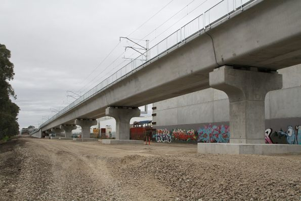 Looking north along the new bridge from Abbotts Road