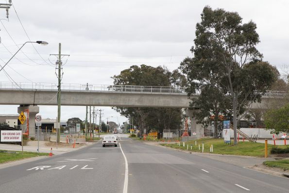Looking west past the completed bridge over Abbotts Road