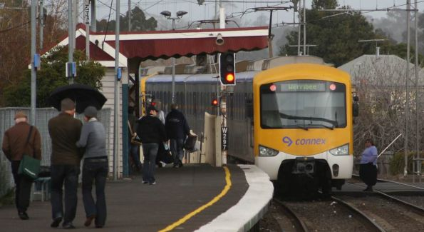 Stupid woman walking in front of a Siemens train at Yarraville