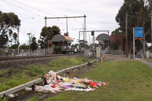 Flowers near Ginifer station after the latest fatality, the pedestrian crossing is at the down end of the platforms