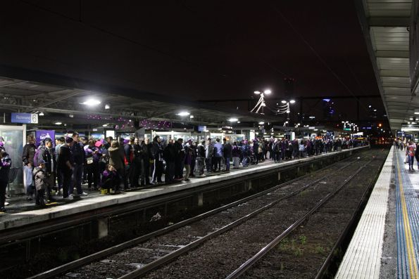 Football crowds at Richmond, after all trains towards Flinders Street were stopped due to a trespasser on the tracks