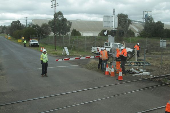 Damaged level crossing equipment at Cootamundra is repaired after a car hit it
