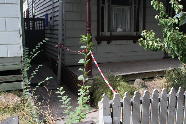 Land subsidence in the front yard of a house atop the Bunbury Street tunnel in Footscray