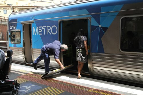 There are 17 other doors on this train, and this idiot passenger figured fighting past the wheelchair passenger trying to exit was the best way to board