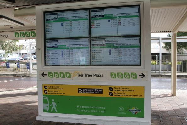 Realtime next bus display at the Tea Tree Plaza bus interchange