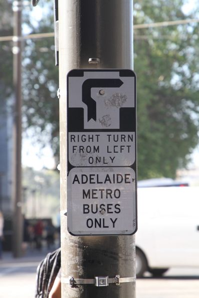 'Right turn from left: Adelaide Metro buses only' sign northbound at King William Street and North Terrace
