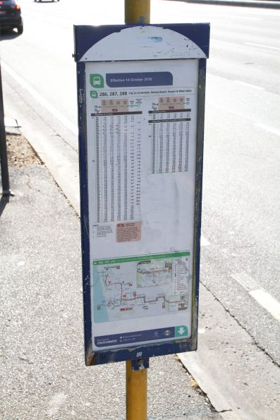 Route 286, 287 and 288 timetable at a bus stop on North Terrace