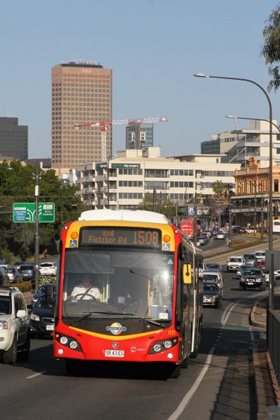 #1171 heads north on route 150B on Port Road at the Adelaide Gaol
