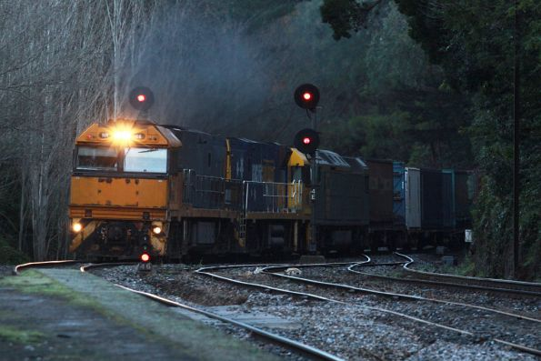 NR66 and classmate top the grade westbound at Mt Lofty