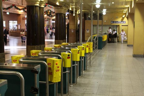 Turnstiles at the entrance to the Adelaide railway station platforms