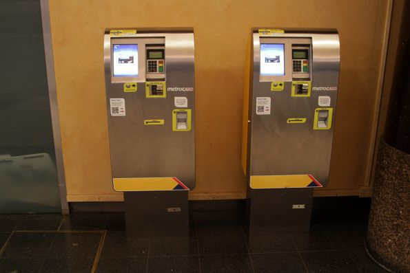 Ticket machines at Adelaide Railway Station: they sell single and day tickets, as well as topping up Metrocards