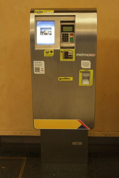 Ticket machine at Adelaide Railway Station: it sells single and day tickets, as well as topping up Metrocards