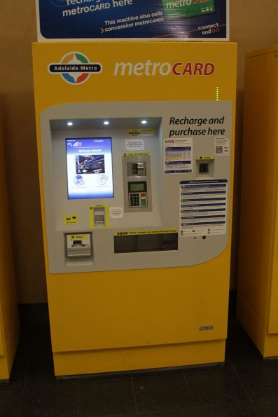 'Big' ticket machine at Adelaide Railway Station - it sells new Metrocards as well a recharging them, as well as single trip tickets