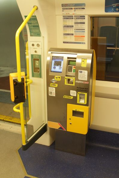Ticket machine onboard a train: it sells single and day tickets, as well as Metrocards recharge