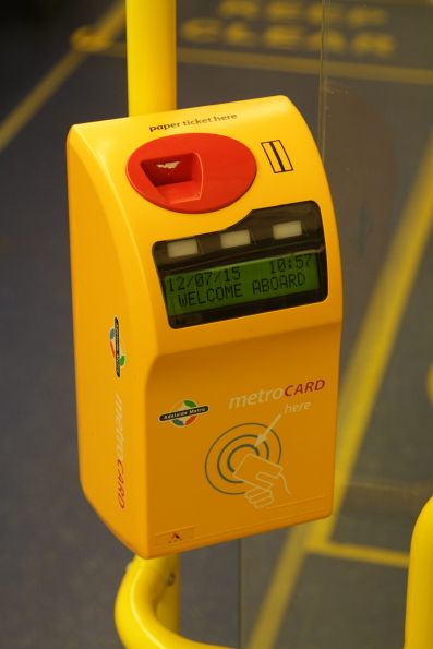 Dual Metrocard and Crouzet ticket validator onboard an Adelaide suburban train