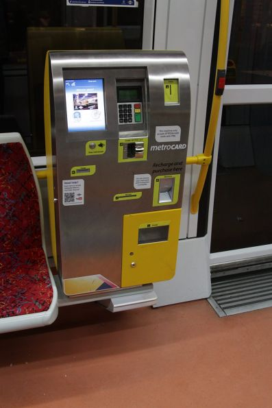 Ticket machine onboard a tram: it sells single and day tickets, as well as Metrocards recharge
