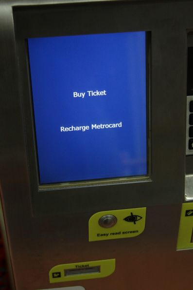 'High visibility' screen mode on a Metrocard machine