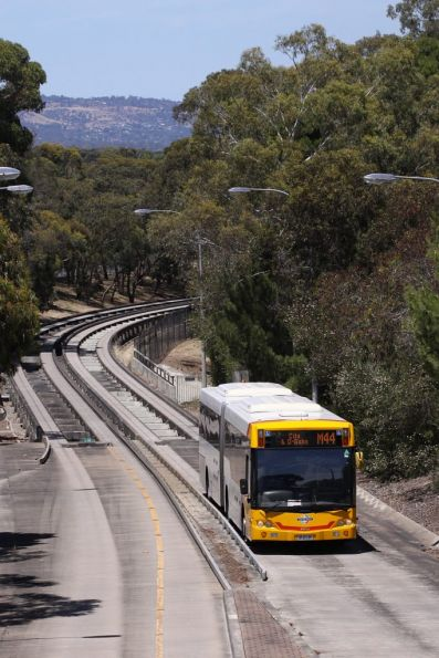 Bus leaves the busway at Tea Tree Plaza Interchange